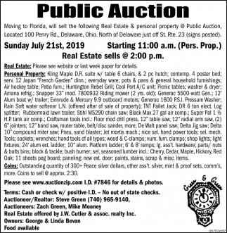 Public Auction July 21st