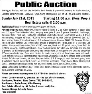 Public Auction July 21st