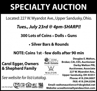Specialty - Auction July 23rd