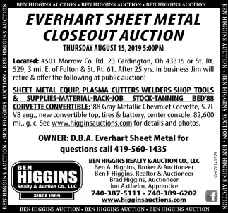 Everhart Sheet Metal Closeut Auction