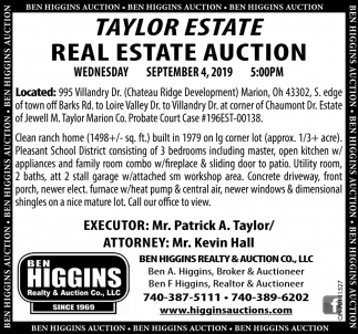 Taylor Estate Real Estate Auction