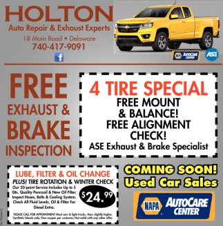 Free Exhaust Brake Inspection Holton Auto Repair Exhaust Experts