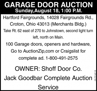 Garage Door Auction August 18