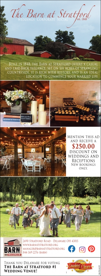 Thank you Delaware for voting The Barn At Straford #1 Wedding Venue