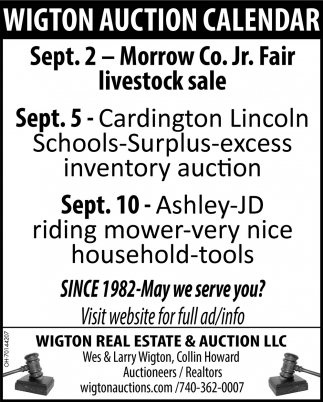 Wigton Auction Calendary