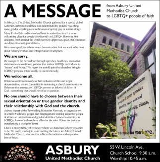 A Message from Asbury United Methodist Church to LGBT+ people of faith