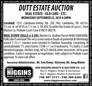 Dutt Estate Auction - September 25