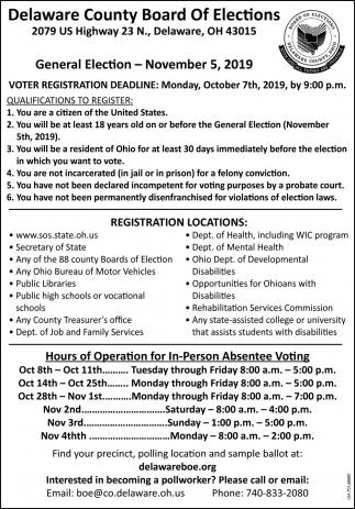 General Election - November 5