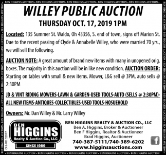 Willey Public Auction - Oct. 17