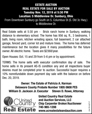 Real Estate For Sale By Auction - Nov. 12