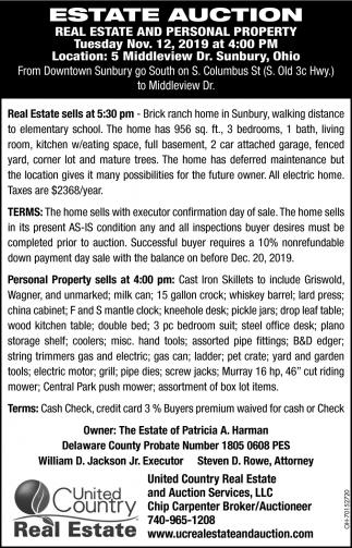 Estate Auction - Nov. 12
