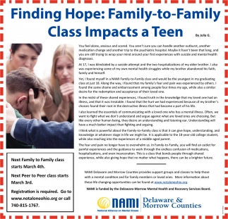 Finding Hope: Family-to-Family Class Impacts a Teen