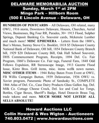 Delaware Memorabilia Auction - March 1st