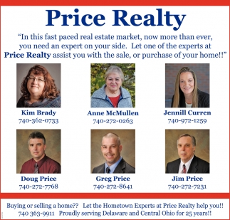 Price Realty assist you with the sale, or purchase of your home