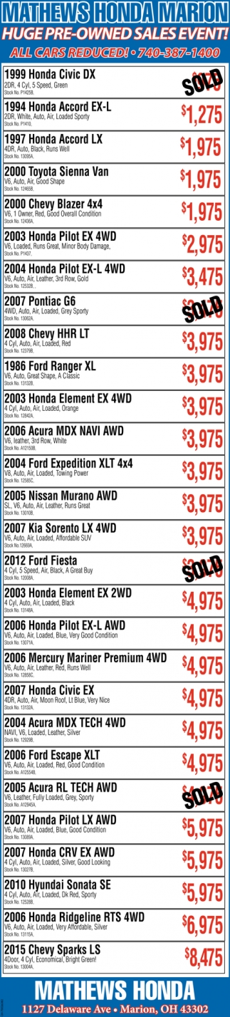 Huge Pre-Owned sales event!
