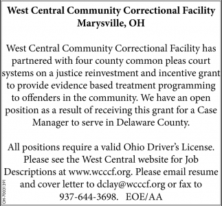 Case Manager, West Central Community Correctional Facility, Marysville, OH