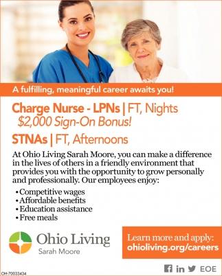 Charge Nurse - LPNs, STNAs