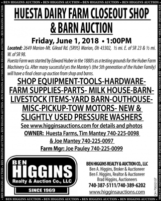 Huesta Dairy Farm Closeout Shop & Barn Auction