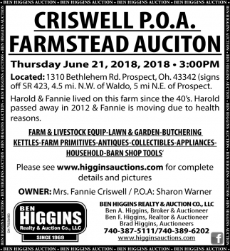 Criswell P.O.A. Farmstead Auction