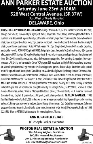 Ann Parker Estate Auction