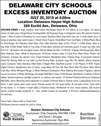 Delaware City Schools Excess Inventory Auction