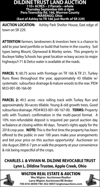 Dildine Trust Land Auction