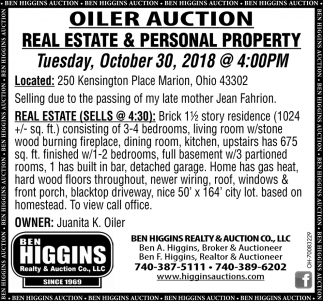 Oiler Auction, Real Estate & Personal Property