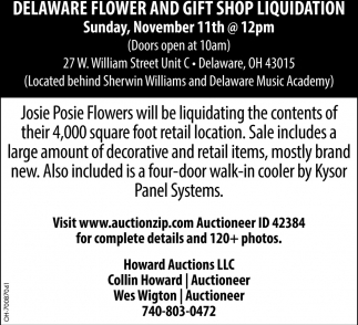 Delaware Flower and Gift Shop Liquidation