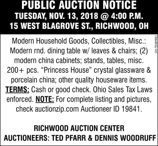 Public Auction Notice, Ted Pfarr Auctioneer