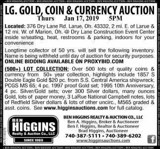 LG. Gold, Coin & Currency Auction