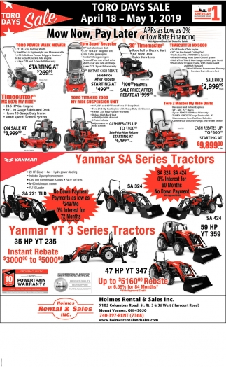 Toro Days Sale April 18 - May 1