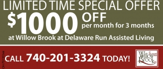 Limited Time Special Offer $1000 off per month for 3 months