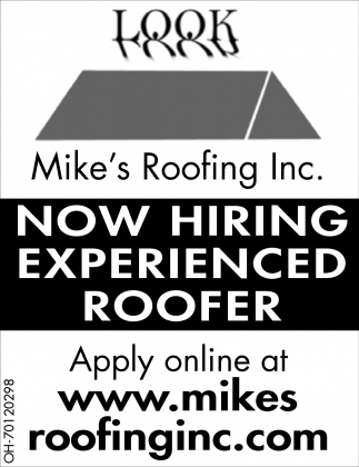 Now Hiring Experienced Roofer